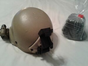 COMBAT WORN ACH BALLISTIC HELMET SIZE LARGE WNEW CHIN STRAPPADS NOROTOS NVG MO