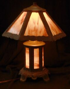 Antique Caramel Slag Glass 6 Panel Lamp With Lighted Base Excellent Working Cond