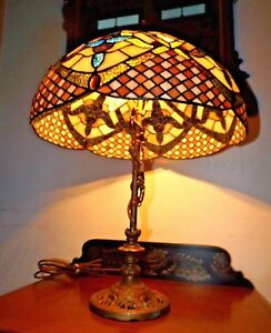 Antique 1900s Art Nouveau Benjamin Metalware Table Lamp W Irid Stained Glass