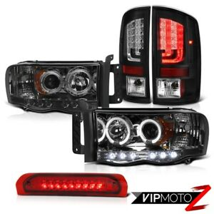 02 05 Dodge Ram 1500 1500 3 7l Taillamps Smoked Headlamps Red 3rd Brake Light