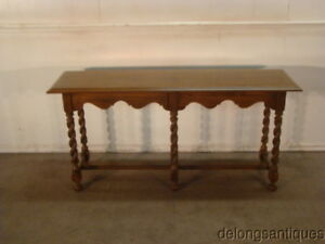 51616 Ethan Allen Solid Oak Inlay Checkered Top Sofa Table