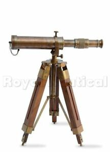 Antique Nautical Gift Decorative Vintage Solid Brass Telescope W Wooden Tripod