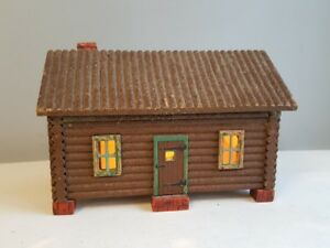 Early 1920 S Americana Lighted Log Cabin Hinged Roof Box By Mcgraw Box Co Ny