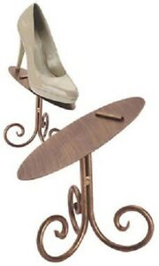 6 Bronze 6 Shoe Stands Display Metal Retail Tilted Stay Ledge Shoes Heals