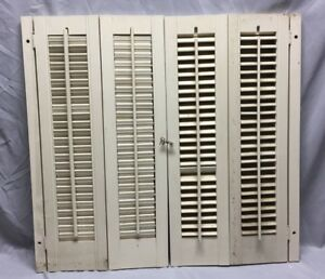 Vintage Pair Interior Louvered Bifold Window Shutters Wood 46 19c
