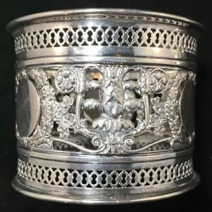 Large European Sterling Silver Openwork Napkin Ring Marked 13