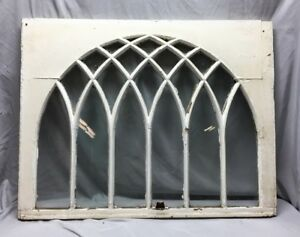 Antique Gothic Arched Window Sash Shabby Vintage Old Chic 32x41 54 19c