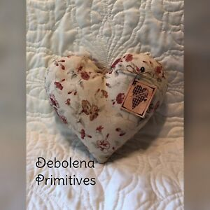 Grungy Primitive Heart Pillow Tuck Vintage Floral Fabric Valentine Be Mine