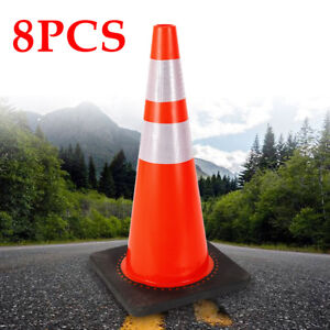8pcs 28 Safety Cones Portable Road Traffic Emergency Cone Stable Black Base