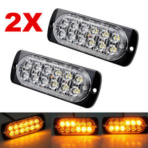 2x Amber 12 Led Strobe Light Bar Car Truck Hazard Beacon Flash Warning Emergency