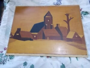 Vintage Inlaid Wood Marquetry Picture 19 5 X 14 75 Cubist Abstract Buildings
