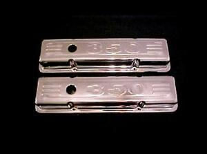 1958 1986 Small Block Chevy V8 Chrome Short Valve Covers W 350 Logo Sbc 283