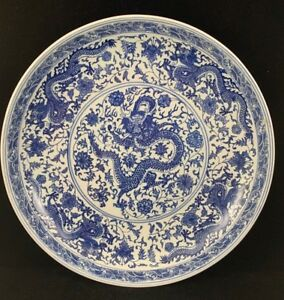 Estate Old House Chinese Vintage Antique Blue And White Porcelain Dragon Plate