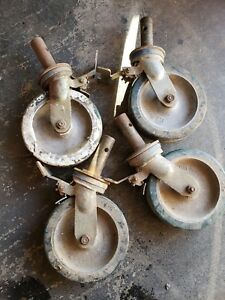 Lot Of 4 Vintage Cast Bassick Wheel Swivel Industrial Casters Big 8 With Brakes