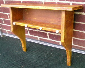 Hand Made Aged Salmon Red Over Mustard Painted Grain Early Wall Shelf