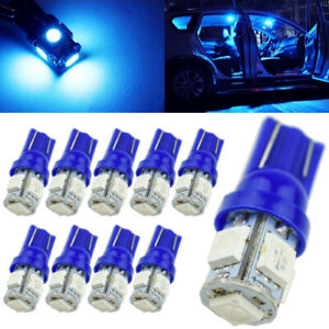 10 X Ultra Blue T10 192 194 Wedge 5smd 5050 Led Light Dome Map Interior Bulbs Us