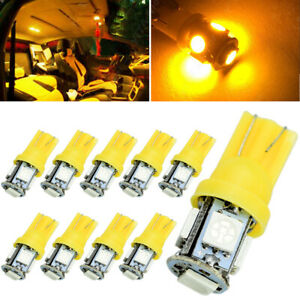 10x Amber Yellow T10 5050 Led Dome Map Interior Light Bulbs W5w 158 192 168 194