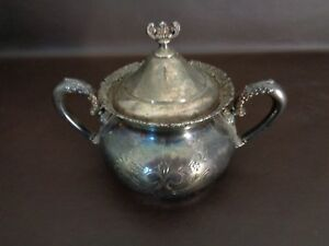 Antique Van Bergh Silver Plated Sugar Bowl With Lid Cat 11c023