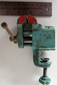 Vintage Small Cast Iron Bench Vise Watchmaker Clamps And Screws To Bench Jeweler