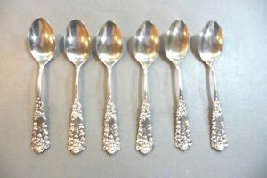 Set Of 6 Sterling Silver Spoons Unknown Pattern No Mono Free Shipping