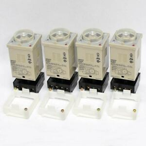 lot Of 4 Omron H3ba Timer Time Delay Relay Switch With P3ga 11 Base Sockets