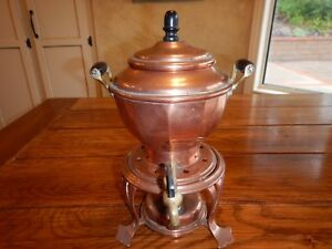 Antique Copper And Brass Coffee Tea Urn With Burner