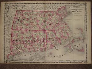 1863 Massachusetts Connecticut Ri Map Civil War Era Johnson Geography Atlas