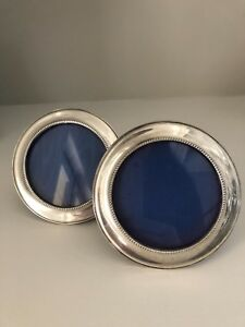 Vintage Pair English Sterling Silver Picture Frames Round