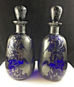 Cobalt Blue Glass Art Nouveau Silver Overlay Decanter Set Of 2