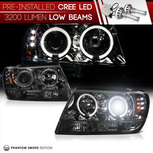 Cree Led Low Beam 99 04 Jeep Grand Cherokee Laredo Limited Led Smoke Headlight