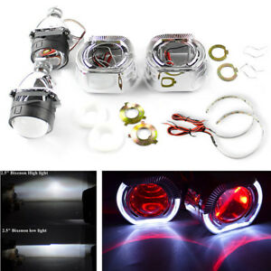 1 Pair Auto Car 2 5 Bi xenon Projector Lens With Led Angel Eyes Red Demon Eyes