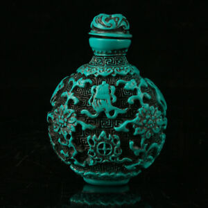 Old Chinese Turquoise Hand Carved Fish Flower Snuff Bottle A857