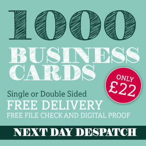 Business Cards Printed Full Colour Double Or Single Sided 1000 Only 22 00
