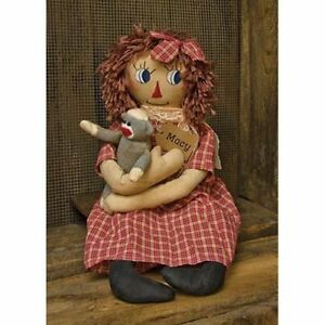 New Primitive Country Folk Art Macy Raggedy Ann Doll With Sock Monkey 23
