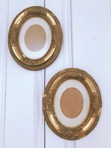 Vintage Pair Antique Gold Gesso Ornate Shabby Oval Frames Set Of 2 W Glass