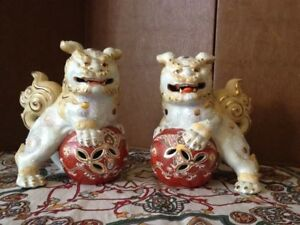 8 Pair Of Kutani Japanese Showa Period Temple Lion Shishi Foo Dog