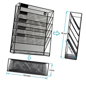 Qubeeco Mesh Wall File Holder Organizer 5 Tier Hanging Wall Mounted Ra