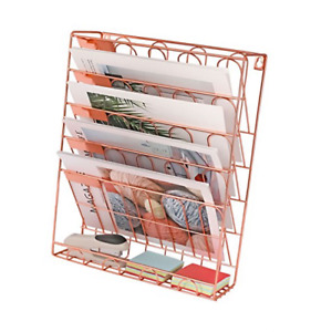 New Superbpag Hanging File Organizer 6 Tier Wall Mount Document Rose Gold