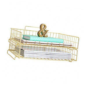 Blu Monaco Gold Desk Organizer Stackable Paper Tray Set Of 2 43396 250931
