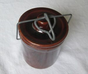 Vintage Brown Glazed Stoneware Cheese Butter Crock With Lid Wire Bail