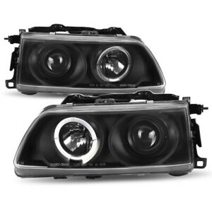 For 90 91 Honda Civic Crx Black Halo Ring Projector Headlight Side Driving Lamp