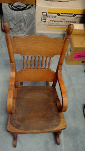 Child S Rocking Chair Vintage Wooden With Leather Seat