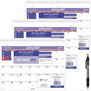 At a glance Pm17028 18 Monthly Desk wall Calendar January 2019 December 2019