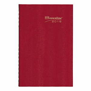 Brownline 2019 Coilpro Daily Planner Hard Cover Bright Red 10 125 X 7 875