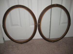 Antique Pair Of Gesso Wood Picture Frames With Flat Glass