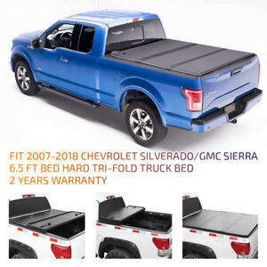 For 2007 2018 Chevy Gmc 6 5ft Hard Tri fold Truck Bed Hard Solid Tonneau Cover