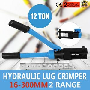 12 Ton Hydraulic Wire Terminal Crimper W 11 Dies Set Lug Tools Cutter Good