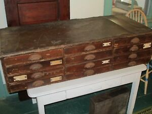 12 Drawer Antique Jeweler S Cabinet W Leather Top General Store Patina Worn