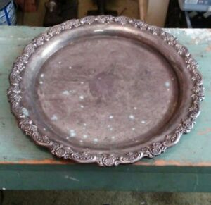 Vntg Oneida 12 Round Silver Plate Serving Tray Platter Etched Scrolled New