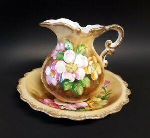 Vintage Ardco Floral Pitcher And Bowl Set Japan Great Value Must See